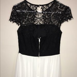 Black and white high low dress.